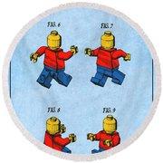 1979 Lego Toy Mini Figures Color Patent Print Light Blue Round Beach Towel