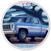 1980 Chevy Custom C10 Short Bed Poster Art Round Beach Towel