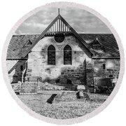 19th Century Sandstone Church In Black And White Round Beach Towel
