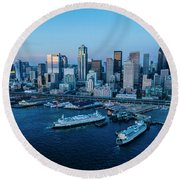 Aerial View Of A City, Seattle, King Round Beach Towel