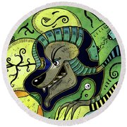 Round Beach Towel featuring the digital art Anubis by Sotuland Art