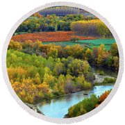 Autumn Colors On The Ebro River Round Beach Towel