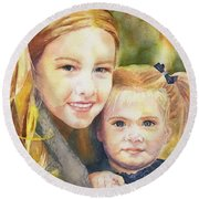 Belle And Maddie Round Beach Towel