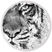 Black And White Half Faced Tiger Round Beach Towel