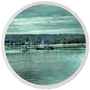 Boats At Northport Harbor Round Beach Towel