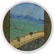 Bridge In The Rain, After Hiroshige Round Beach Towel