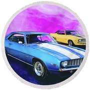 2 Camaros Round Beach Towel