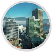 Round Beach Towel featuring the photograph Canada Place by Ross G Strachan
