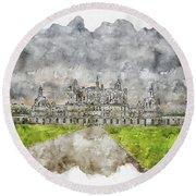 Castle #watercolor #sketch #castle #architecture Round Beach Towel