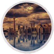 Clouds Over Toronto Round Beach Towel