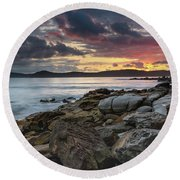 Colours Of A Stormy Sunrise Seascape Round Beach Towel