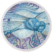 Dragonfly Moon Round Beach Towel