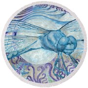 Dragonfly Moon Round Beach Towel