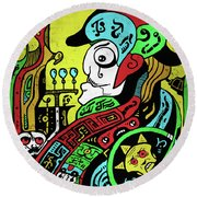 Round Beach Towel featuring the digital art Emperor by Sotuland Art