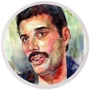 Freddie Mercury Watercolor Round Beach Towel