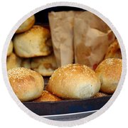 Freshly Baked Buns With Stuffing Round Beach Towel
