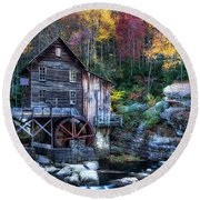 Round Beach Towel featuring the photograph Glade Creek Grist Mill  by Pete Federico