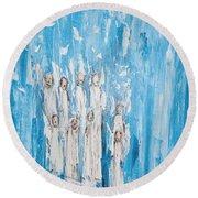 Heavenly Host Of Angels  Round Beach Towel