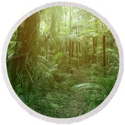 Jungle Fern Trees Round Beach Towel