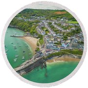 New Quay, Wales From The Air Round Beach Towel