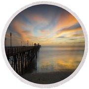 Oceanside Pier Sunset Round Beach Towel