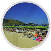 Round Beach Towel featuring the photograph On The Beach by Tony Murtagh