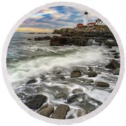 Round Beach Towel featuring the photograph Rising Tide At Portland Head by Rick Berk