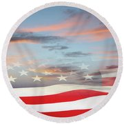 Usa Flag In Sky Round Beach Towel
