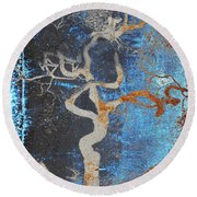 2000 Year Old Tokyo Tree In Grunge Blue And Brown Round Beach Towel