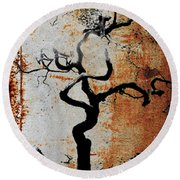 2000 Year Old Tokyo Tree Sepia Brown Texture  Round Beach Towel