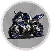2014 Bmw Hp4 Motorcycle Original Handmade Drawing Custom Gift Round Beach Towel