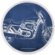 2018 Harley Davidson Street Rod, Vintage Blue Background Round Beach Towel
