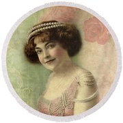 20th Century Actress In Beaded Gown Round Beach Towel