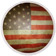 American Flag No.194 Round Beach Towel