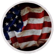 American Flag No.196 Round Beach Towel