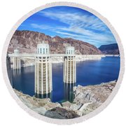 Round Beach Towel featuring the photograph Wandering Around Hoover Dam On Lake Mead In Nevada And Arizona by Alex Grichenko