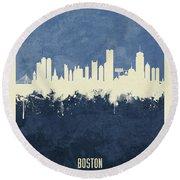 Boston Massachusetts Skyline Round Beach Towel