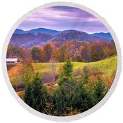 Round Beach Towel featuring the photograph Autumn Season And Sunset Over Boone North Carolina Landscapes by Alex Grichenko