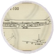 Boeing 747 - 100 - Airplane Blueprint. Drawing Plans Or Schematics For The Boeing 747-100 Round Beach Towel