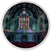 Christmas Church Round Beach Towel