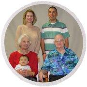 Family Portrait  Round Beach Towel