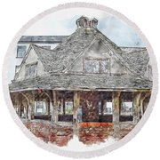 France #watercolor #sketch #france #architecture Round Beach Towel