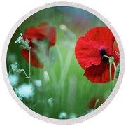 Red Corn Poppy Flowers Round Beach Towel