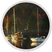 3 Sail Boats In Coal Harbour Creek Vancouver Round Beach Towel