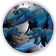 Tyrannosaurus Three Moons Round Beach Towel