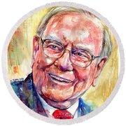 Warren Buffett Portrait Round Beach Towel