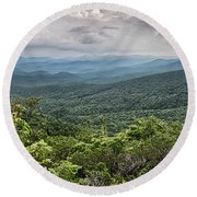 Round Beach Towel featuring the photograph Rough Ridge Overlook Viewing Area Off Blue Ridge Parkway Scenery by Alex Grichenko