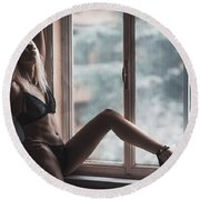 Round Beach Towel featuring the photograph 3689 by Traven Milovich