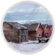 A Sign Of The Times, Run Diown Farm Out Buildings And Barns, Alb Round Beach Towel