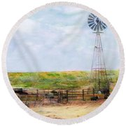 Classic Cattle  Round Beach Towel